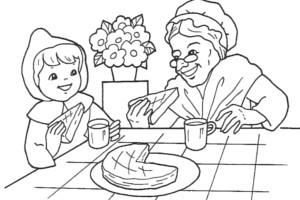dibujos colerear imprimir abuelita caperucita