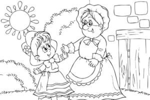 ilustraciones d ela abuelita y caperucita para pintar