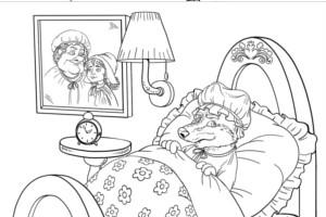 PDF para pintar caperucita y lobo
